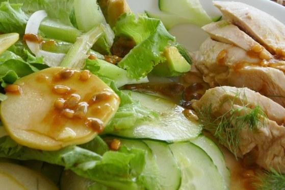 salade pomme&fenouil,poulet& concombre