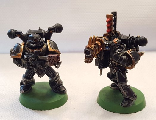 Black Legion, flamer and missile launcher marines