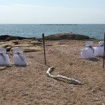 Beach Wedding White Steel Grey Organza Chair Covers And Linen Rentals