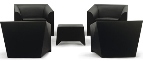 MARIO BELLINI MB1 MOULDED PLASTIC CHAIR AND POUF.jpg