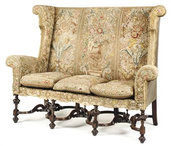 William And Mary Style Wing Settee   Late 17th Century
