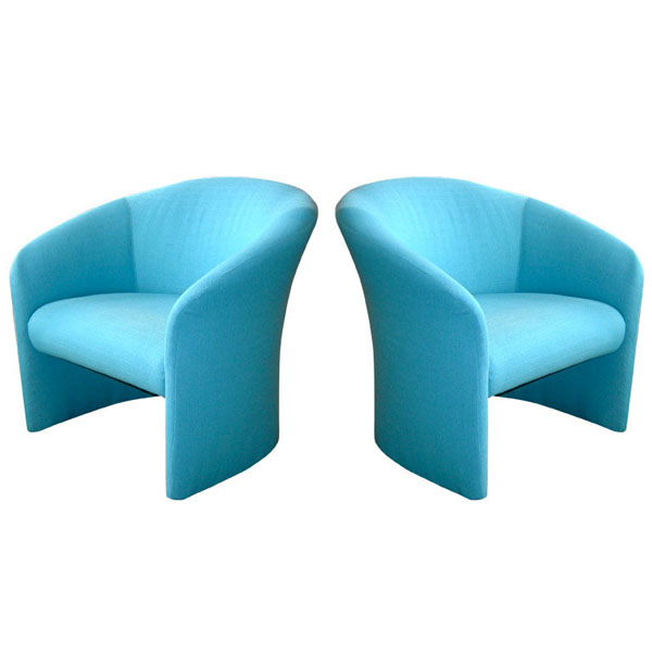 Tiffany Blue Accent Chairs by Massimo Vignelli