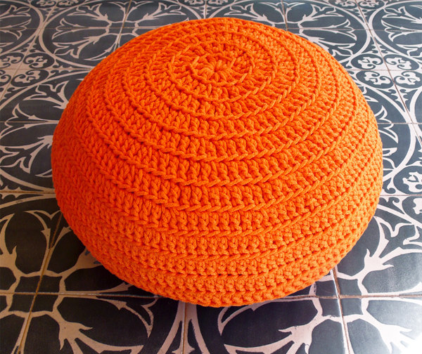 Orange Crocheted Pouf by Glo and Mo