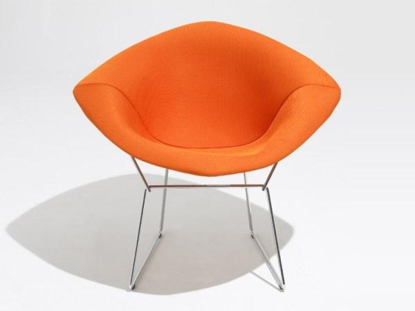 Orange Diamond Armchair by Harry Bertoia