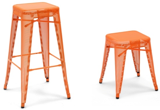 Orange Perforated Tolix H Stool by Chantal Andriot