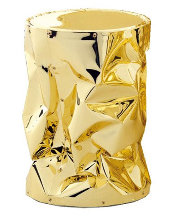 gold crunch stool by Bruno Rainaldi