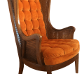 1960 S Mid Century Modern Lewittes Tufted Velvet Cane Wingback Chair Chairish