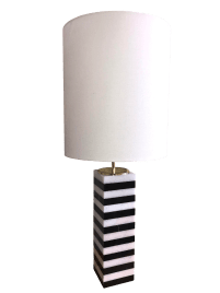 Square Black And White Striped Rectangular Marble Table Lamp With Shade Chairish