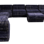 Mid Century Modern 9 Piece Modular Serpentine Blue Velvet Sectional Sofa By Kagan
