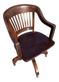 Mid Century Maple Bankers Chair On Casters
