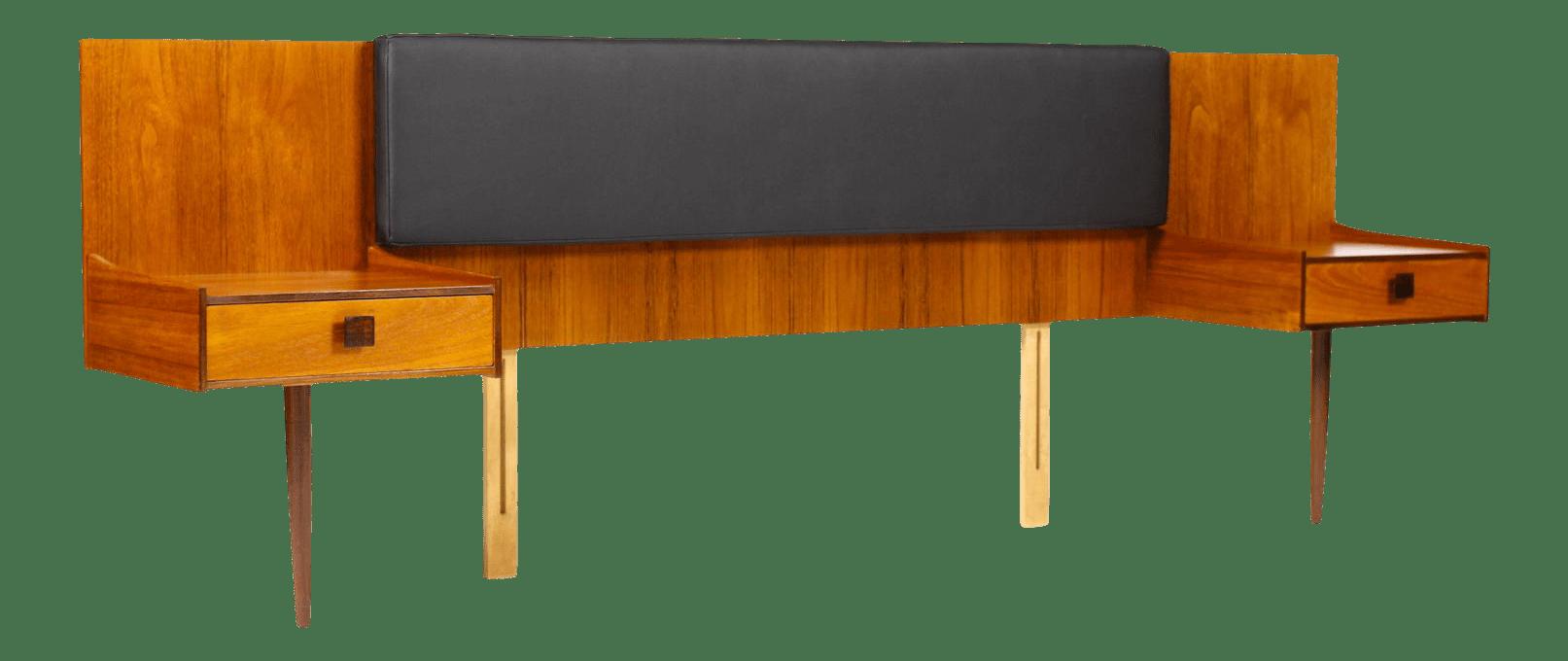 Danish Modern Kofod Larsen For G Plan Teak Headboard Floating Nightstand S