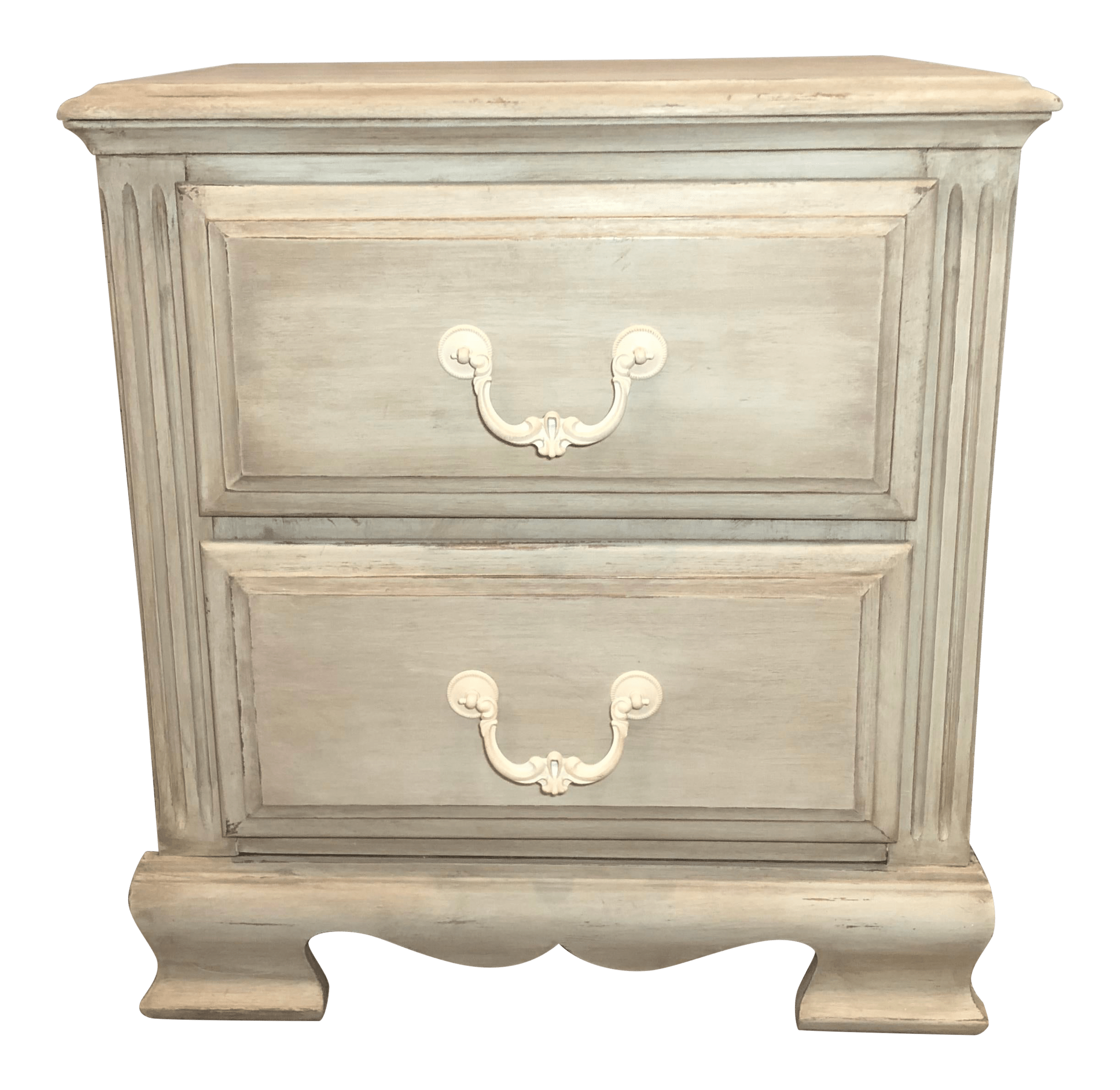 Antique Shabby Chic Green Bedside Table Chairish