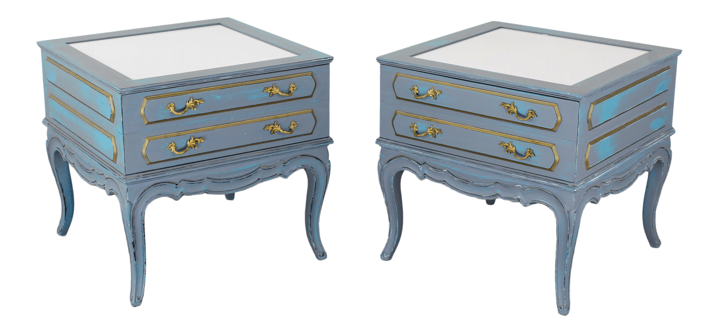 Mid Century French Provincial Nightstands A Pair Vintage Nightstands Gray Nightstands Shabby Chic Nightstand Blue Nightstans