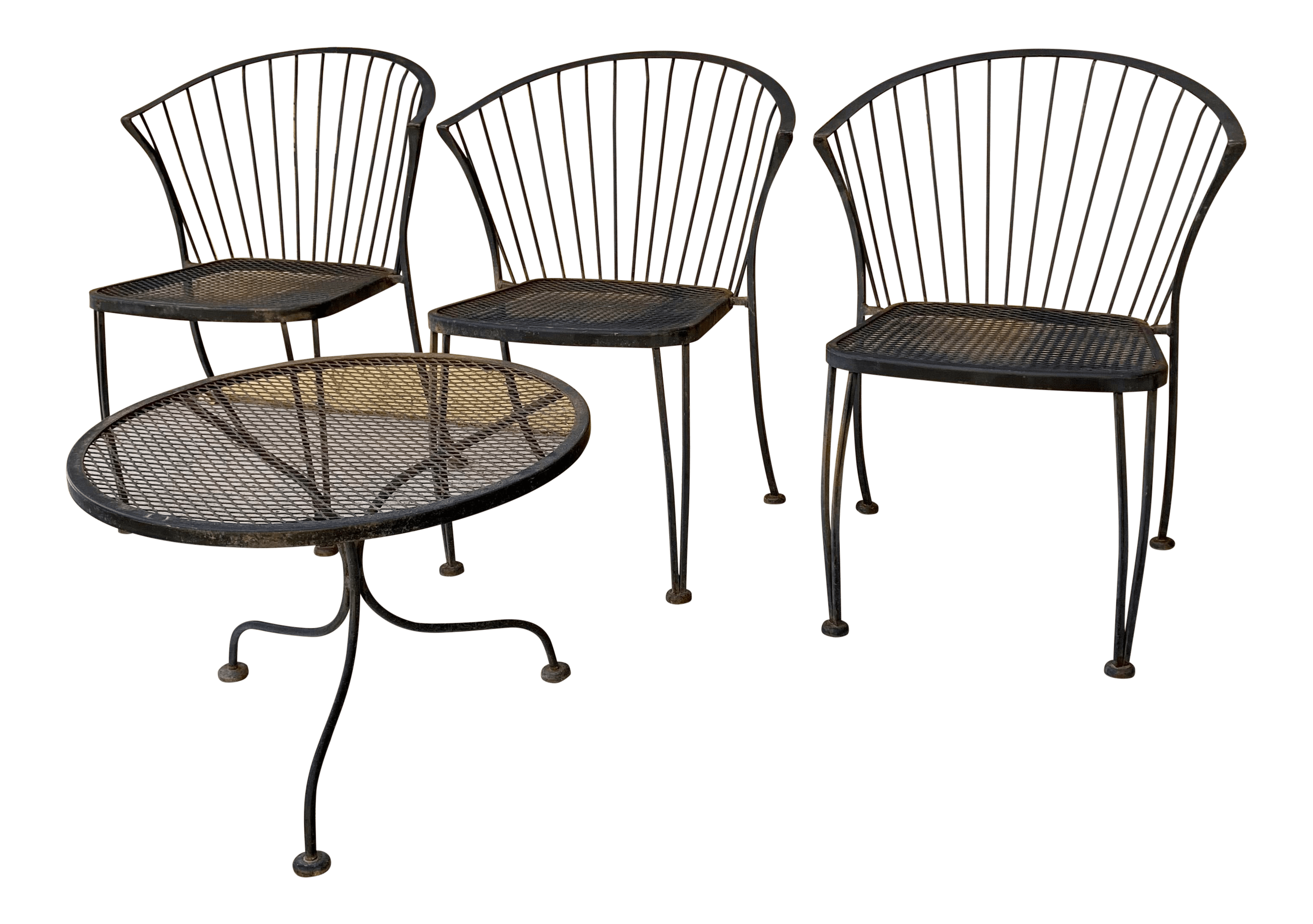 carolina forge wrought iron barrel back mid century patio dining chairs and table set 3 chairs and 1 table