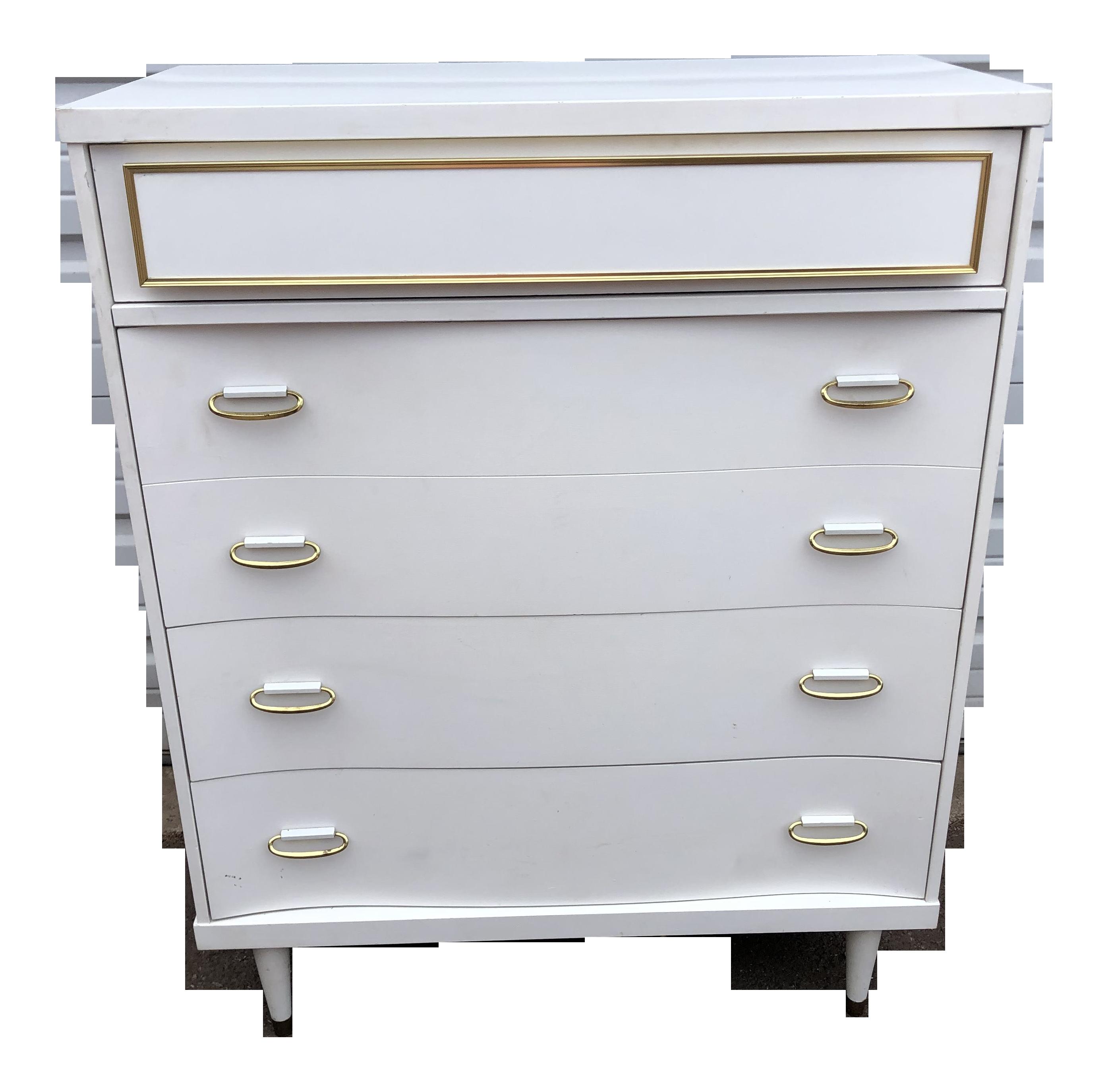 vintage bassett mid century modern white and gold chest of drawers dresser