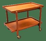 Mid Century Danish Modern Bar Cart In Teak By Poul Hundevad Chairish