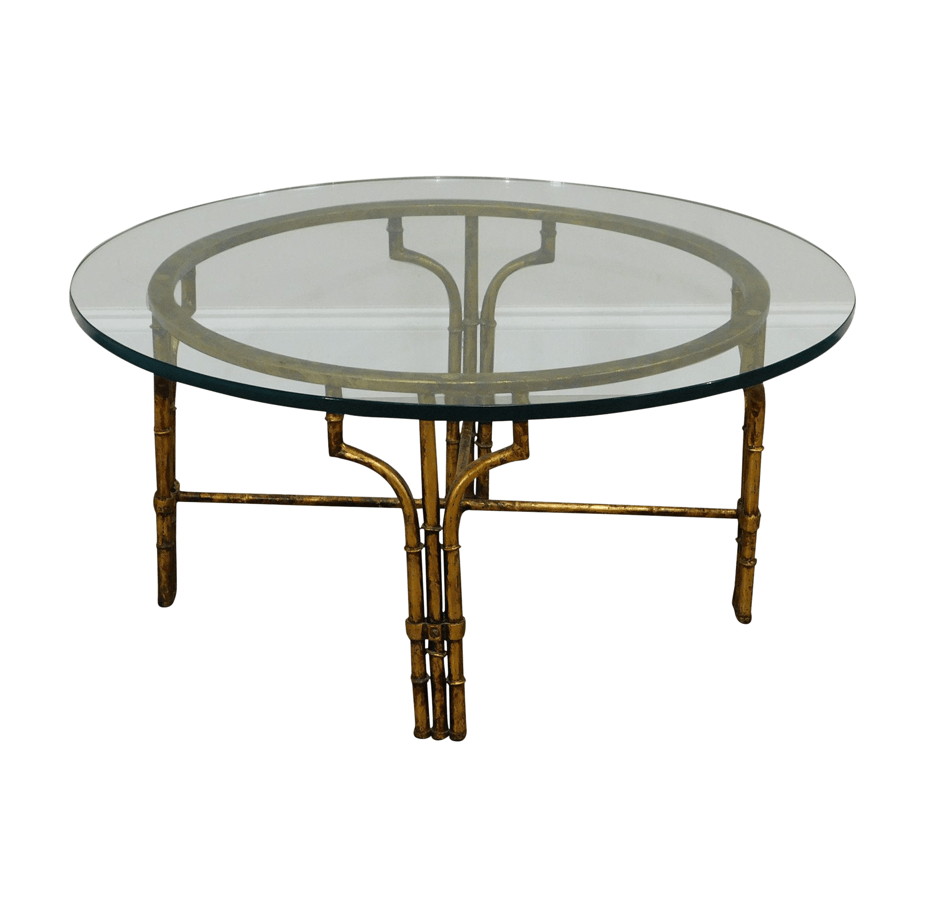 faux bamboo gilt metal base round glass top coffee table