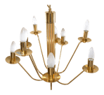 Stilkronen Mid Century Modern Nine Lights Gold Plate Brass Chandelier Italy Chairish