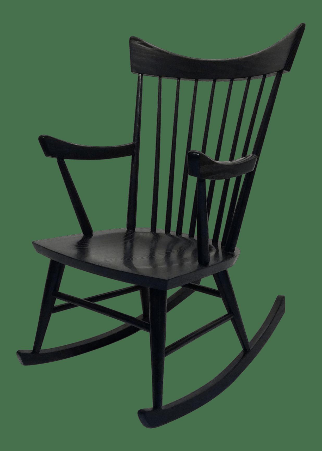 Mid Century Modern Edmond Spence Style Black Rocking Chair Chairish