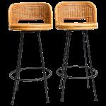 Pair Of Vintage Swivel Woven Rattan Bar Stool 1960s Chairish