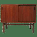 Danish Modern Small Teak And Rosewood Sliding Door Credenza Cabinet 1960s Chairish