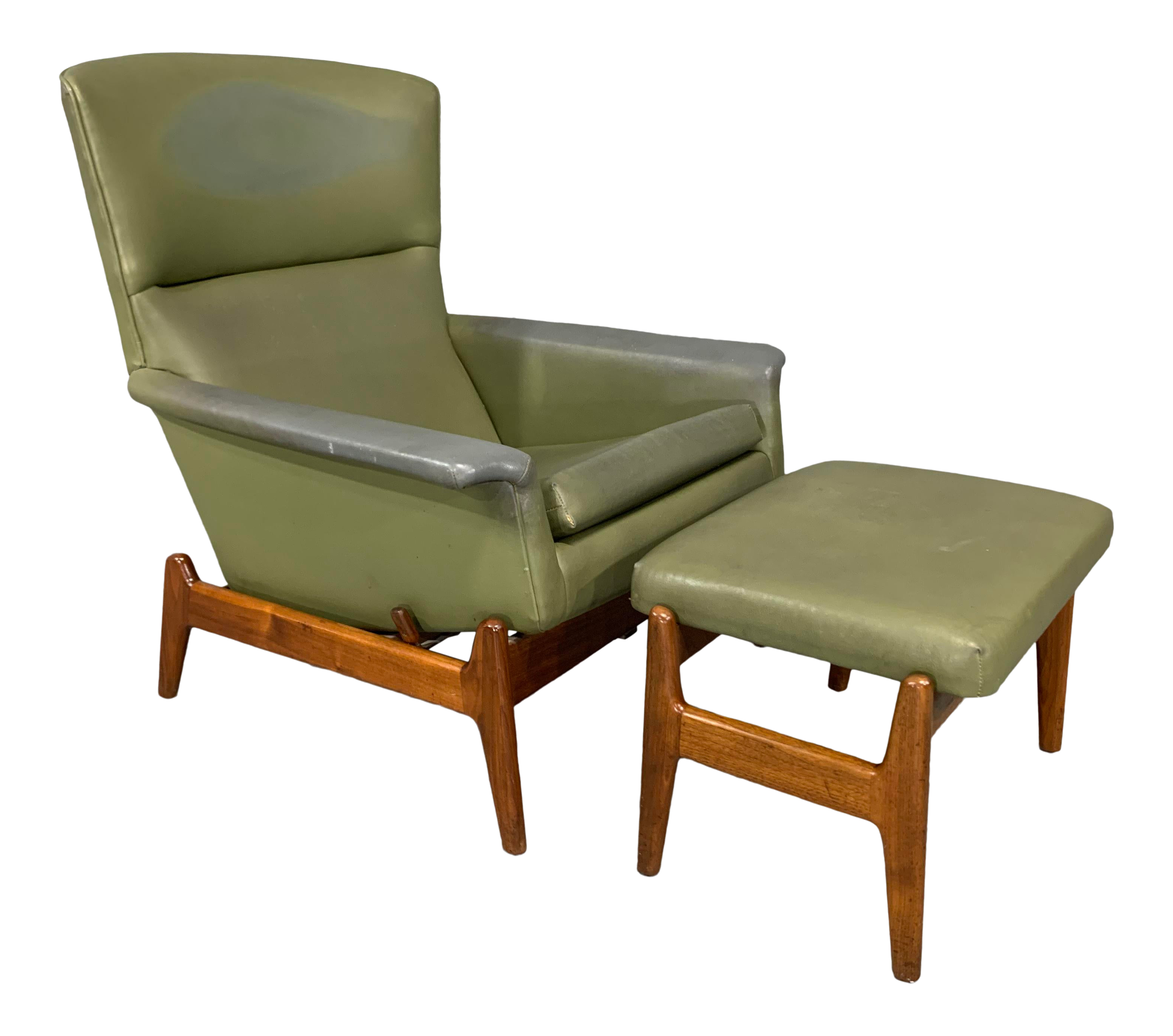 mid century modern recliner and ottoman by folke ohlsson for dux in teak a pair