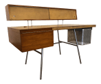 George Nelson For Herman Miller Walnut Steel And Leather Mid Century Desk Chairish