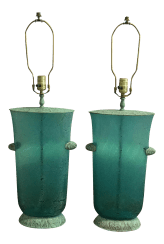 Vintage Turquoise Glass Metal Table Lamps A Pair Chairish