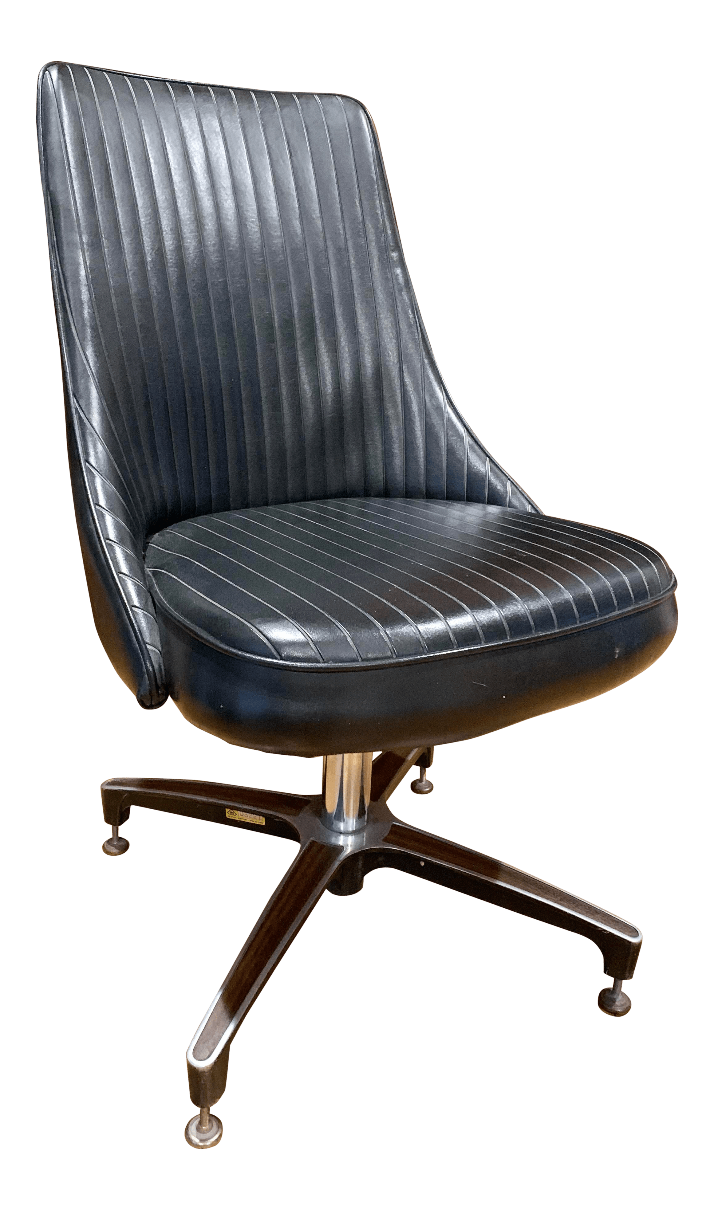 Vintage Mid Century Modern Decorables By Cromcraft Black Ribbed Leather Accent Chair Chairish