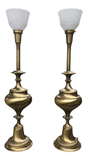 1950s Tall Vintage Brass Lamps With Glass Shade A Pair Chairish