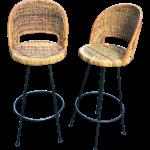 Rattan Bar Stools Danny Ho Fong A Pair Chairish