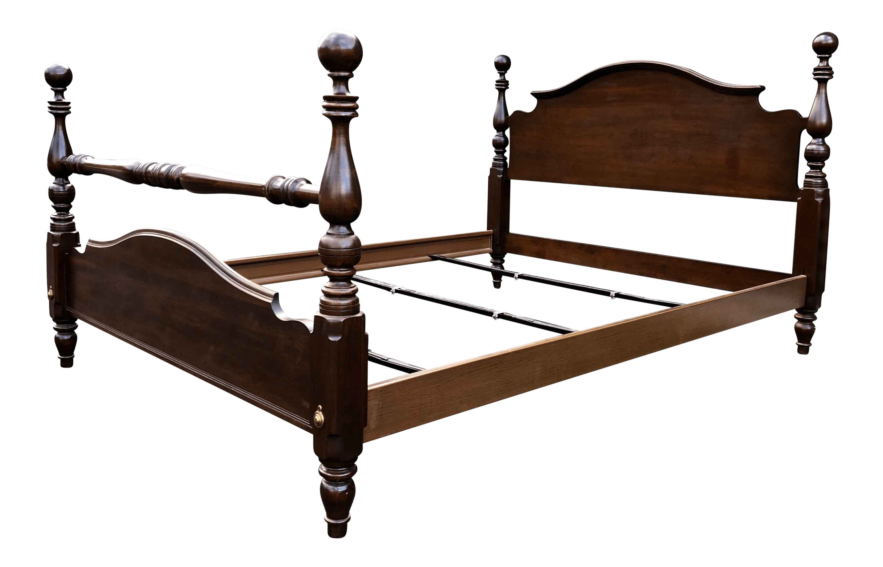 ethan allen solid cherry cannonball queen bed