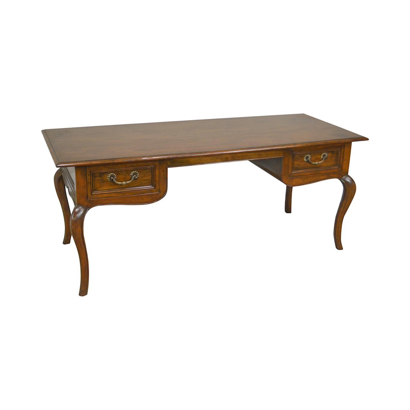 baker french louis xv style vintage walnut bureau plat writing desk for sale image 13