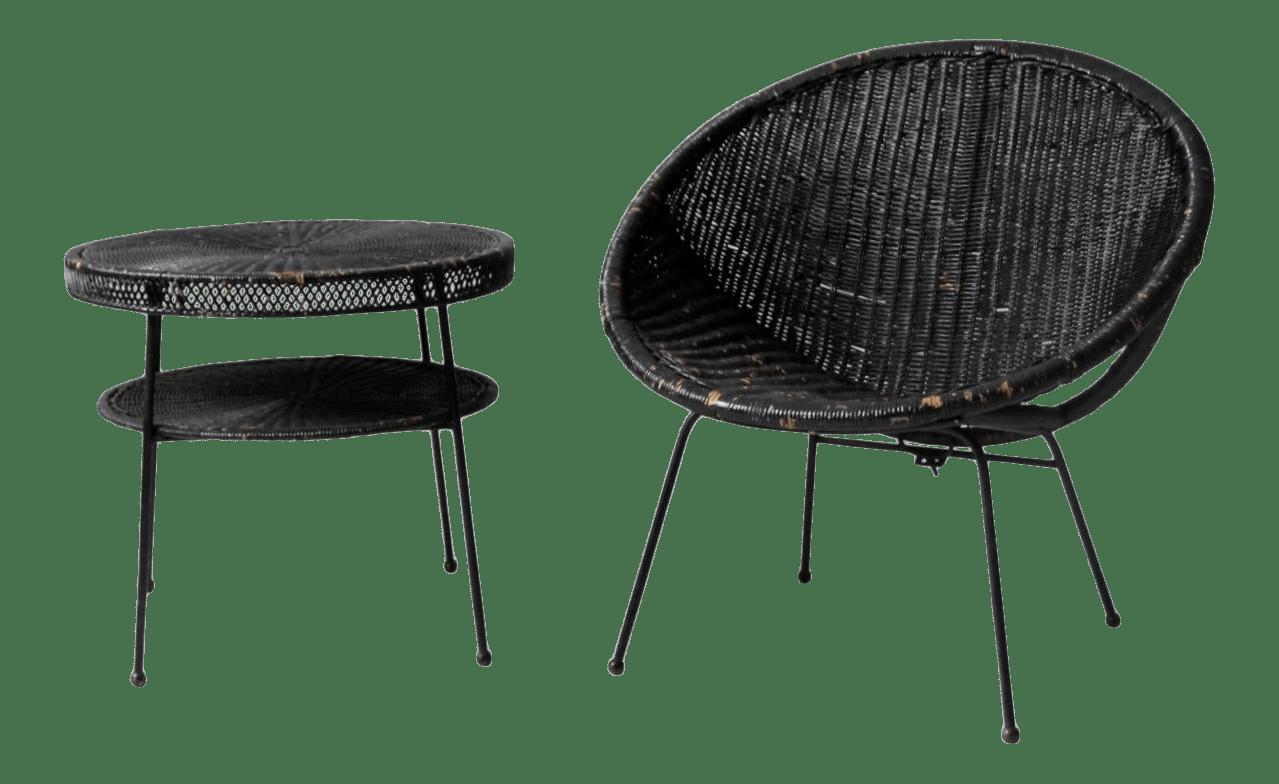 mid century black wicker patio set