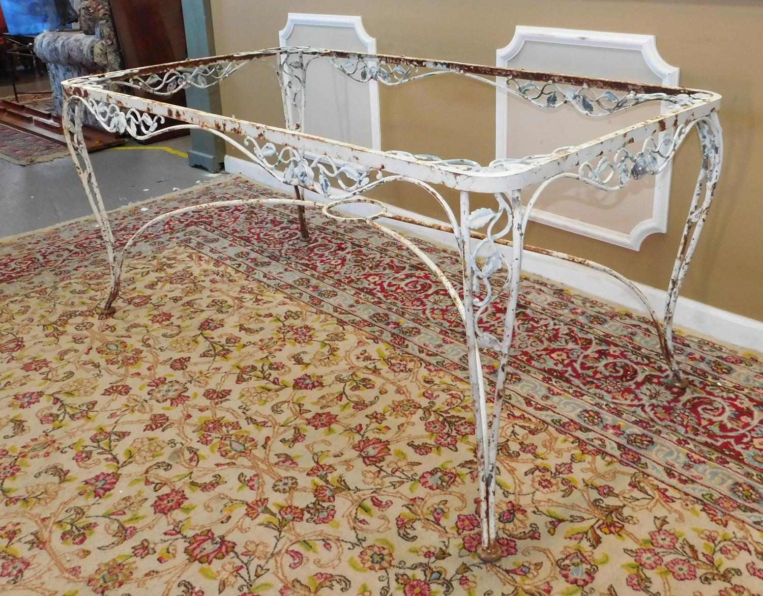 vintage 1940s woodard chantilly rose wrought iron patio outdoor table