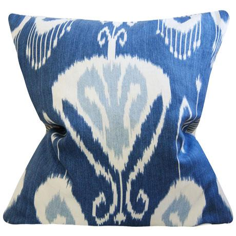 boho chic blue and white ikat pillow cover 25x25