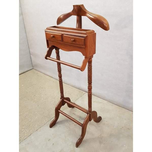 vintage gentleman s wooden valet stand suit rack clothing hanger butler