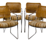 Chromcraft Mid Century Modern Rattan And Chrome Dining Chairs Set Of 4