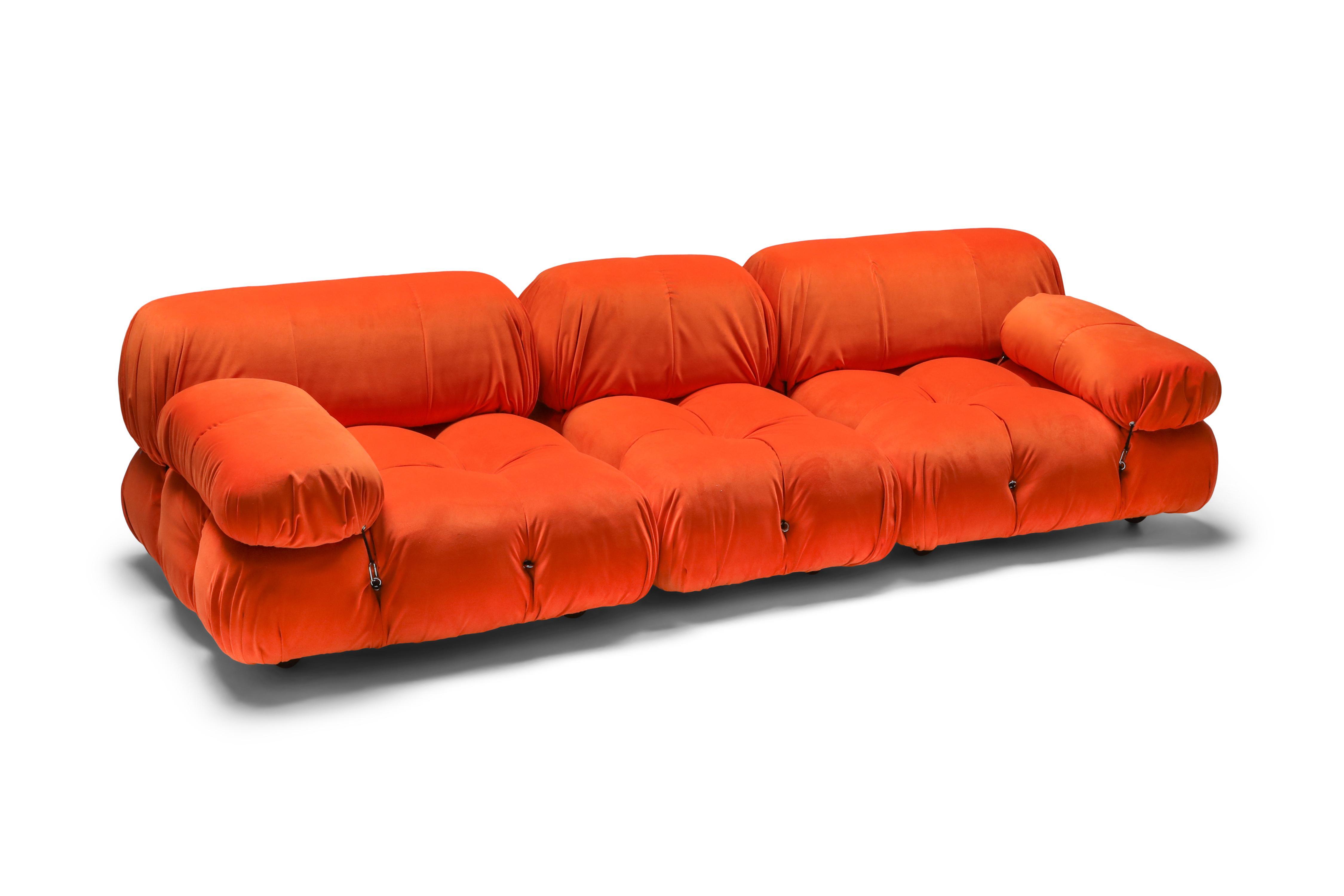 1970s camaleonda sectional sofa in bright orange