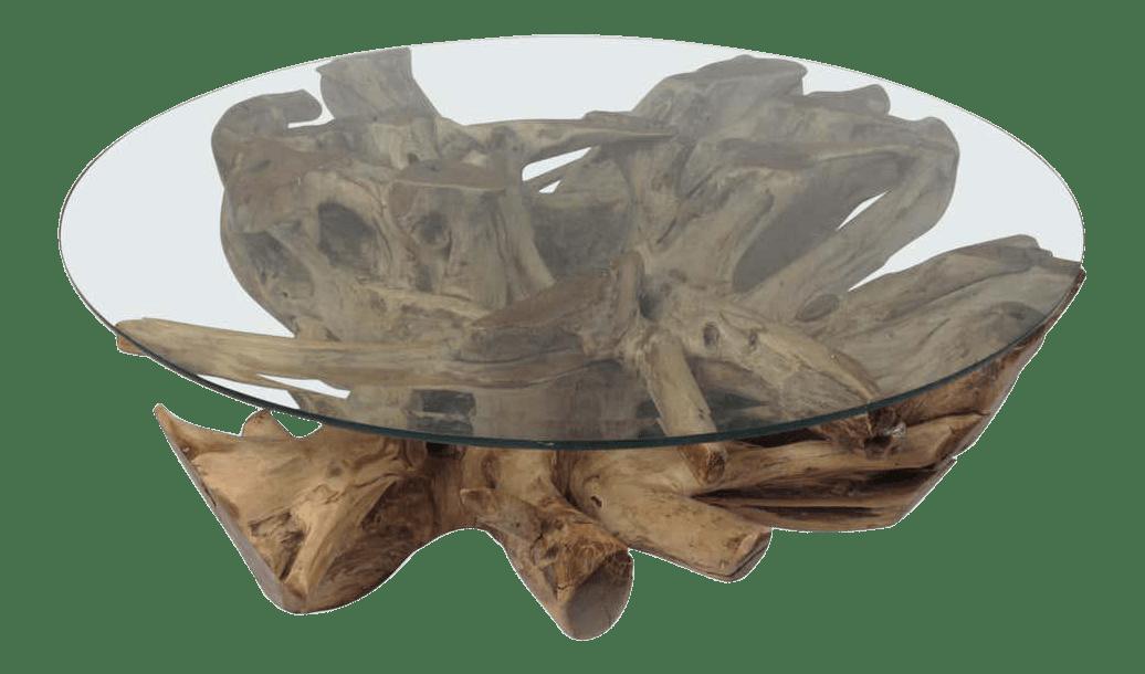 mid century modern tree root coffee table