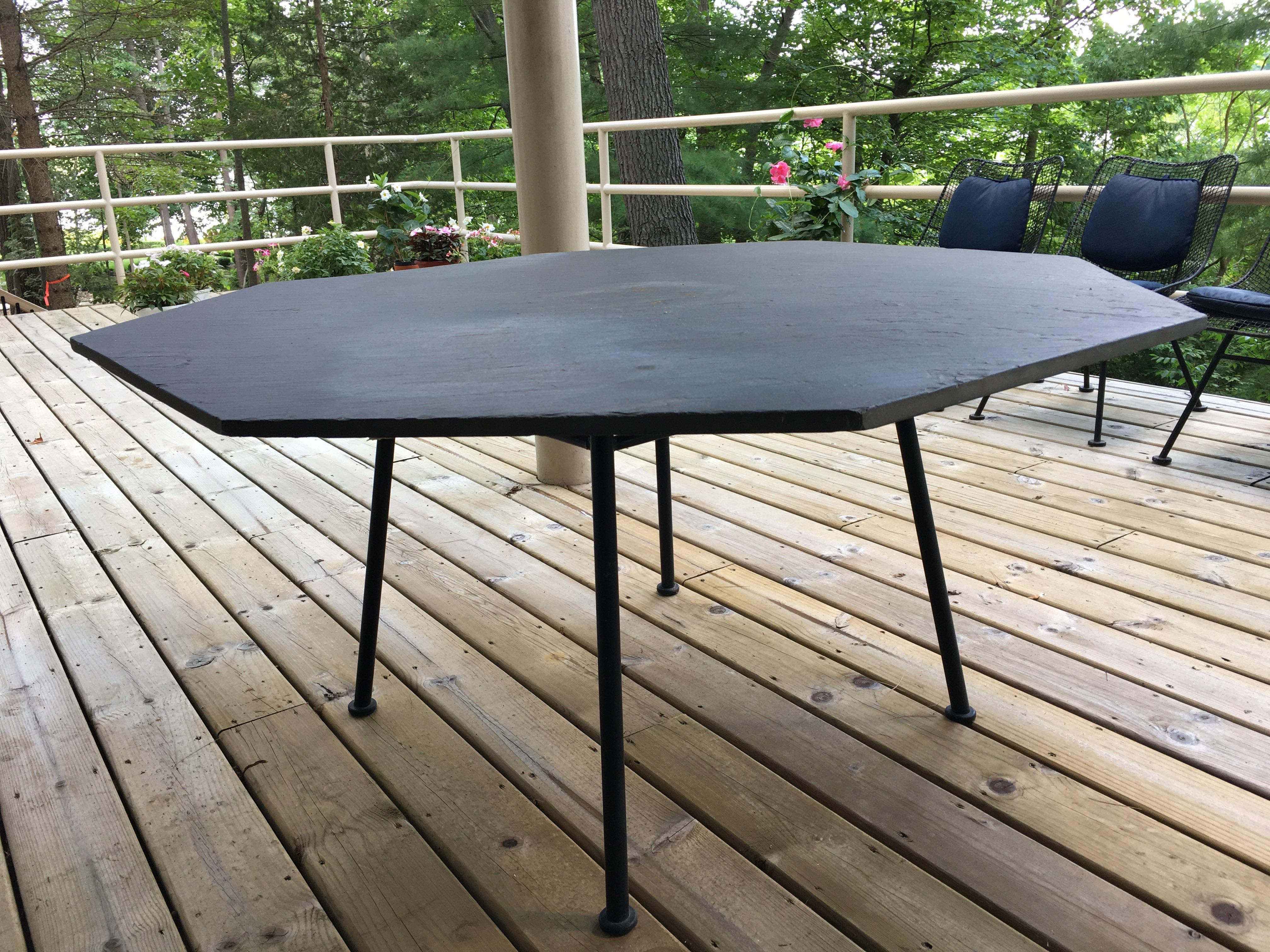 mid century russel woodard sculptura octagon slate top dining table chairs