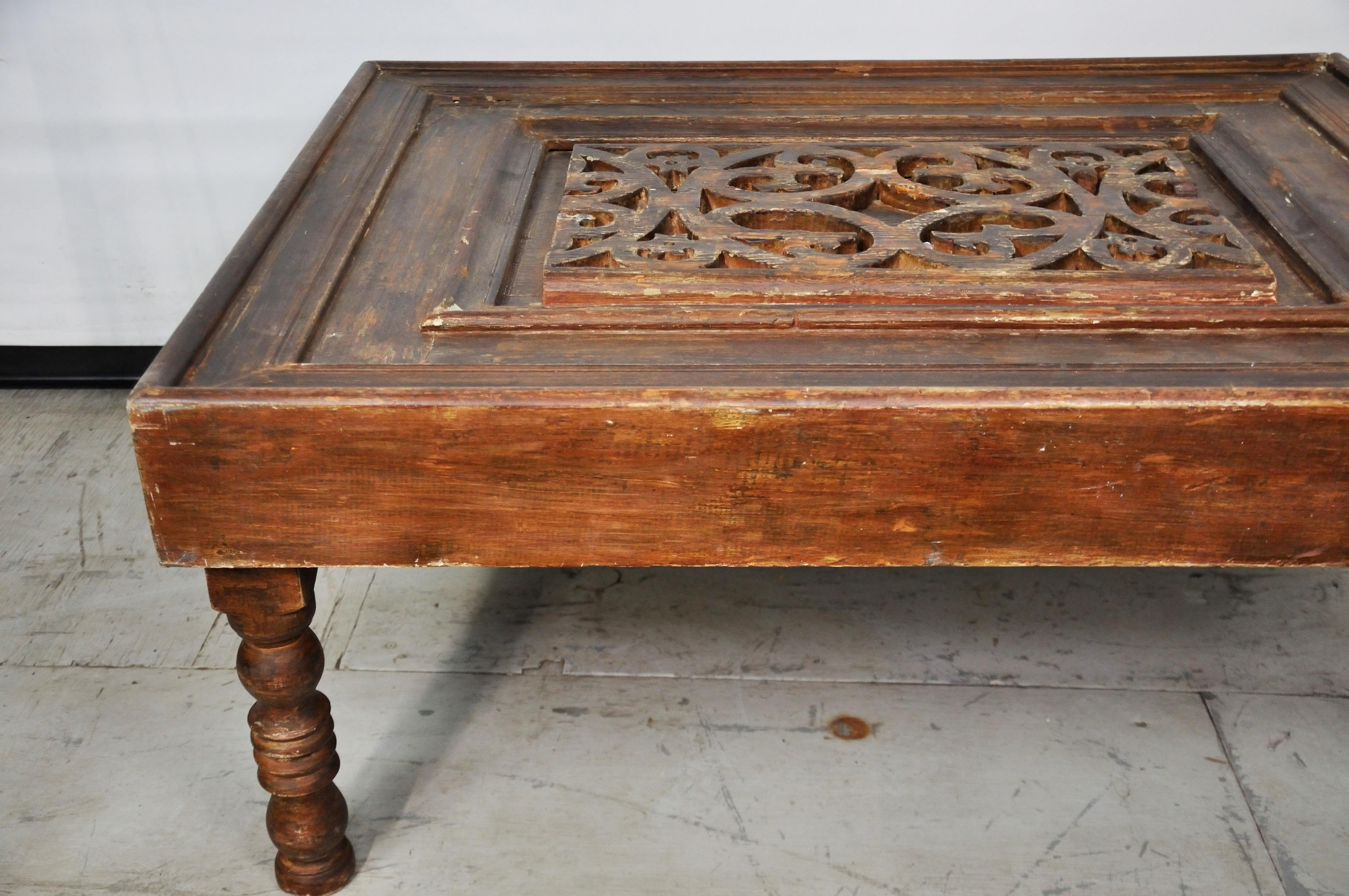 vintage egyptian carved wood coffee table