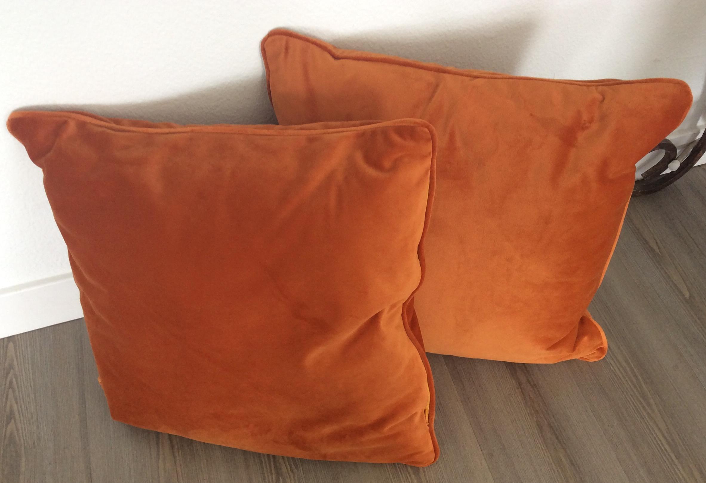 contemporary italian burnt orange velvet pillows a pair