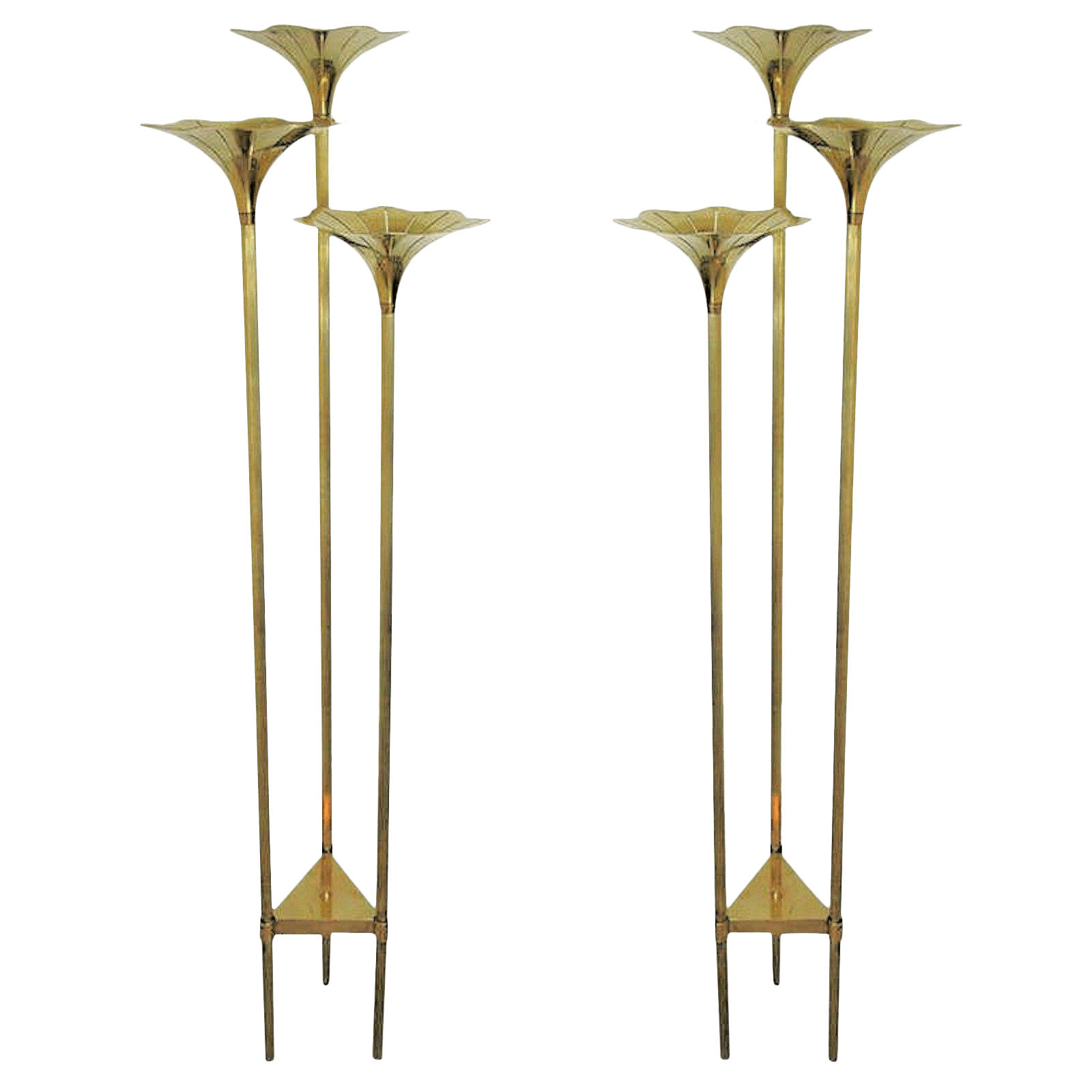 Pair Of Mid Century Brass Floor Lamps In The Style Of Gabriella Crespi
