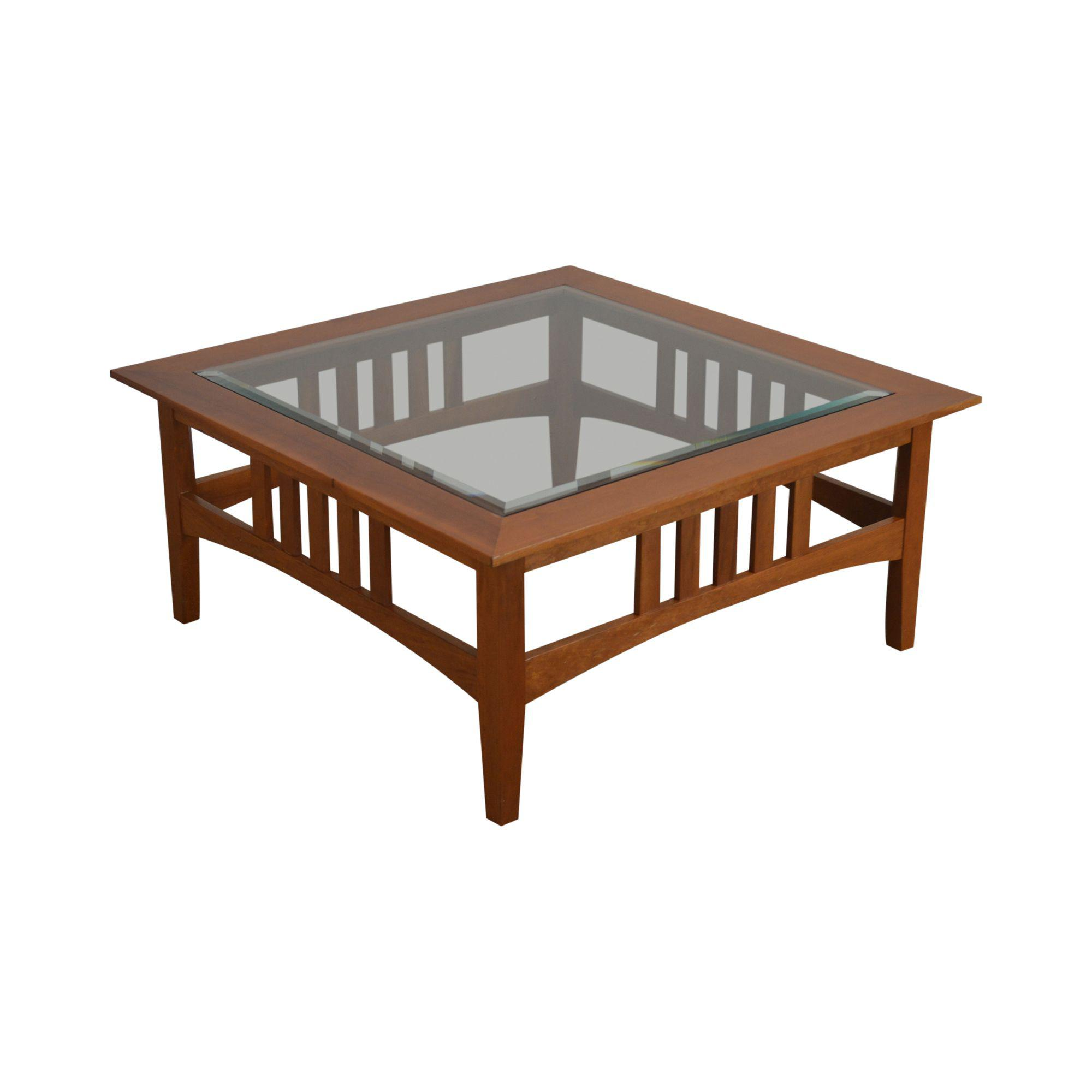 custom solid cherry square glass top american impressions style coffee table