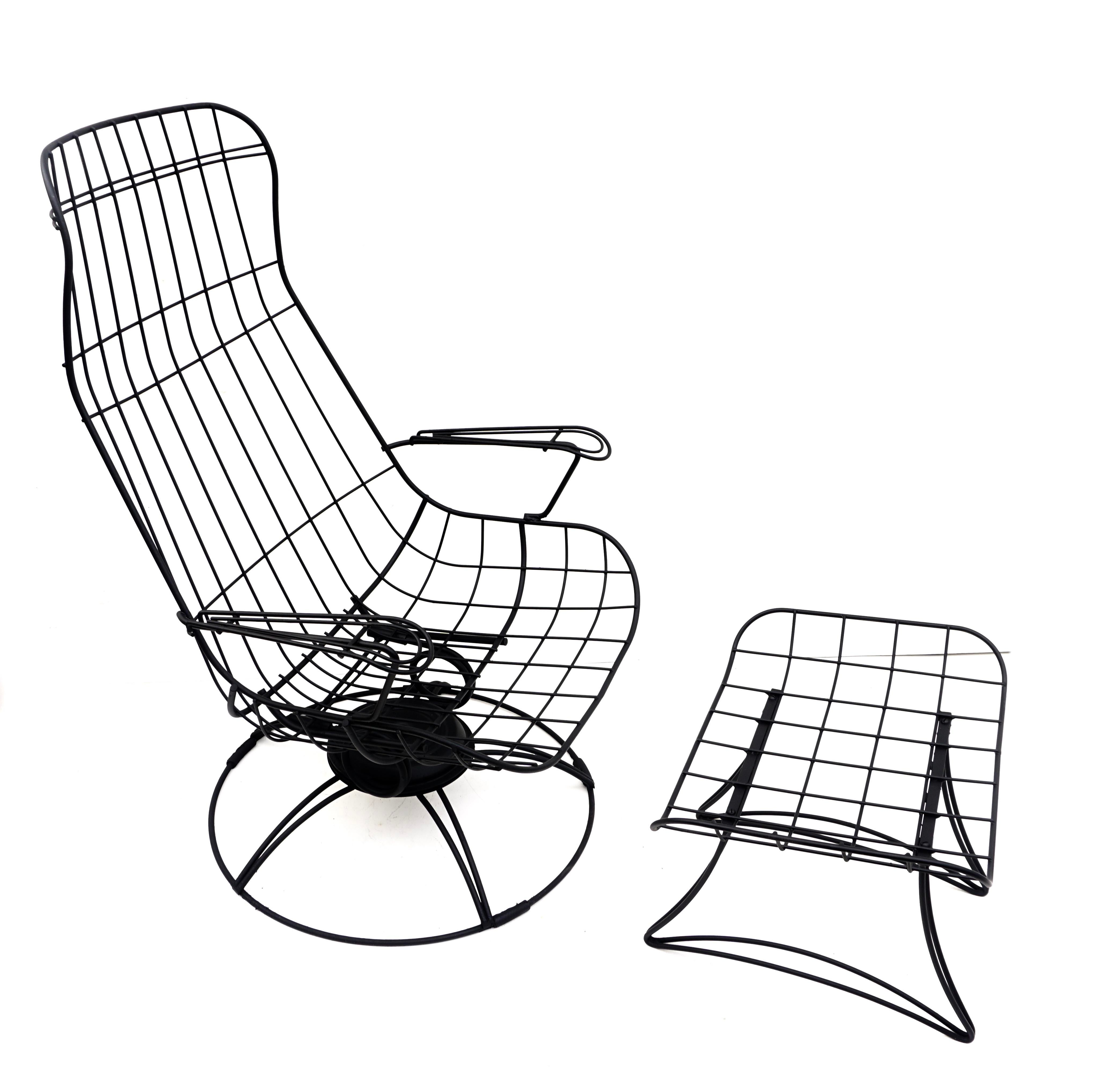 mid century homecrest metal wire patio chairs ottoman indoor outdoor high back swivel rocker lounger footstool original cushions included