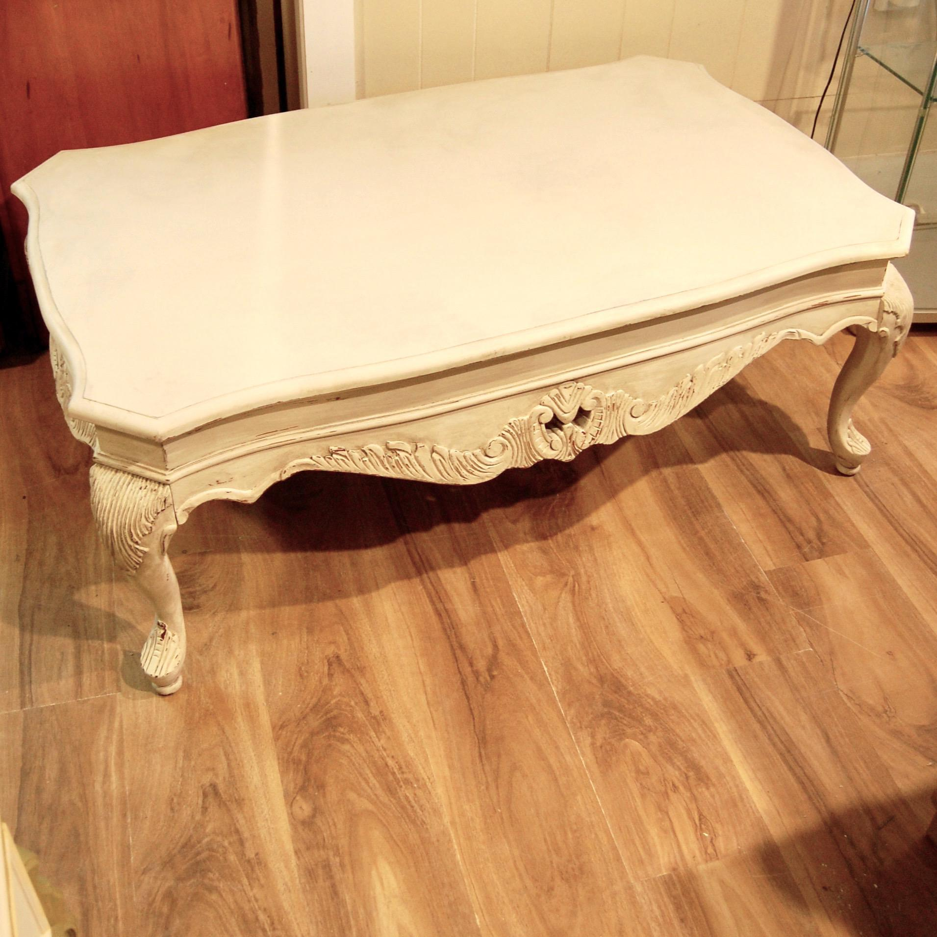 distressed white traditional coffee table