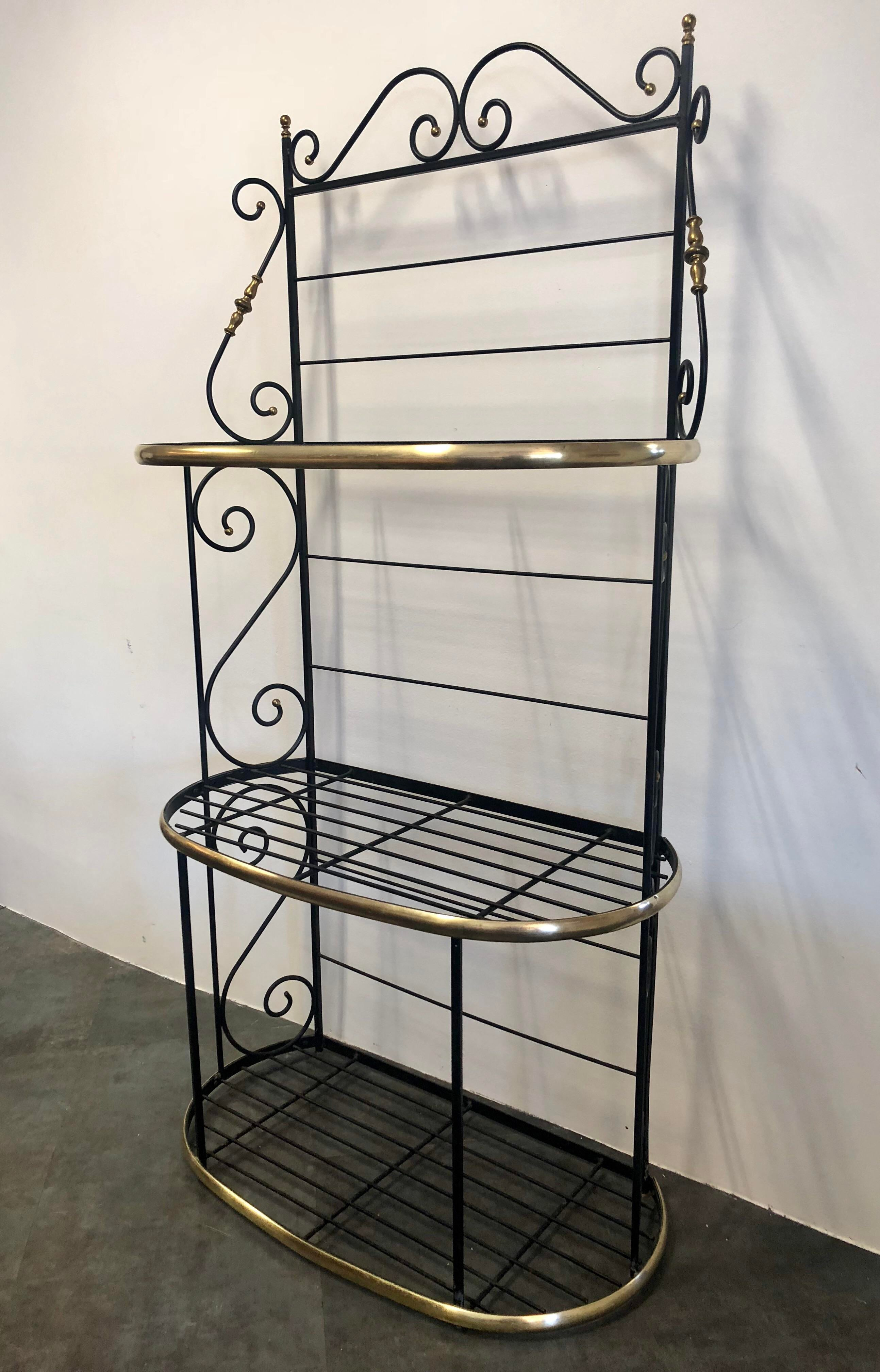 antique brass and black wrought iron 3 tier baker s rack