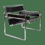 Vintage Marcel Breuer Mid Century Modern Wassily Black Strap Leather Chair Chairish