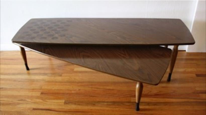 mid century modern swing out coffee table